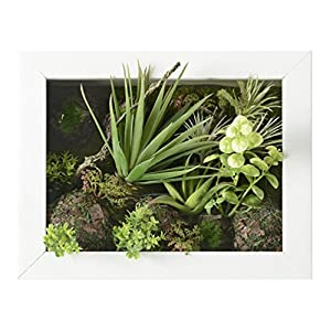 3D Artificial Flowers Wall Hanger Succulent Plants Aloe Green Leaves Grass Moss Stone with Imitation Wood Photo Frame Shape Vase Home Decoration, White Frame, 7.87 in9.84 in 9