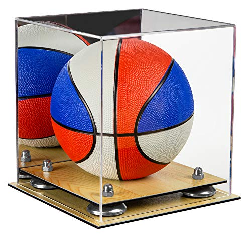 (Deluxe Acrylic Mini - Miniature (not Full Size) Basketball Display Case with Mirror, Silver Risers and Wood Base (A015-SR))