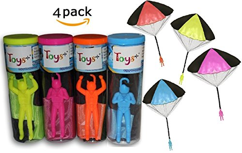 "4 Pack Tangle Free Throwing Toy Parachute Man with Large 20"" Parachutes! Blue, Orange, Pink and Yellow"