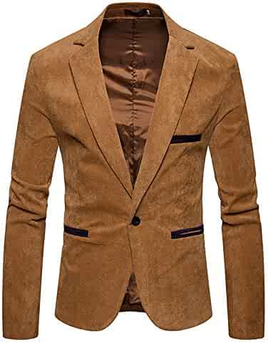 SMALLE ◕‿◕ Clearance,Men's Autumn Winter Casual Corduroy Slim Long Sleeve Coat Suit Jacket Blazer Top
