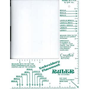 Embroidery placement ruler adult shirts size for Embroidery placement on t shirts