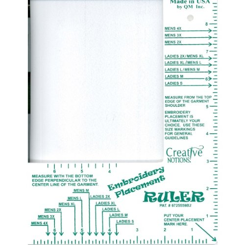 - Embroidery Placement Ruler Adult Shirts Size Small - 4XL