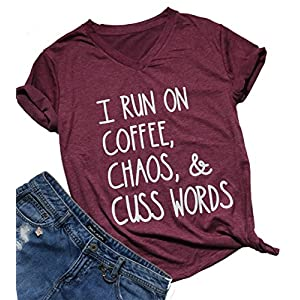 DUTUT Womens I Run On Coffee Chaos Cuss Words Letter T-Shirt V-Neck Short Sleeve Tops Size XL (Burgundy)