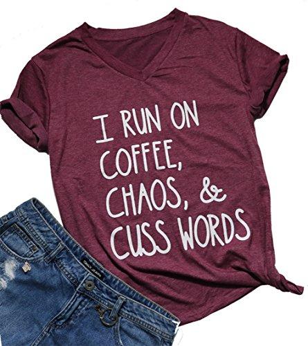 Womens I Run On Coffee Chaos Cuss Words Funny V-Neck Short...