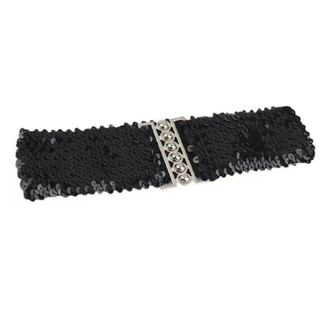 Singleluci Women's Fashion Dress Accessories Vintage Manual Sequins Waistband Belt Straps (Black)