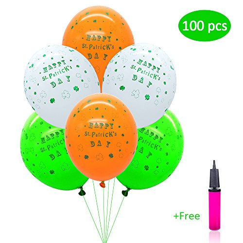 St Patricks Day Decorations Balloons - 100 Pack, Green White Orange - with Air Pump Inflator - 12 Inch, Latex, Shamrocks Clovers | Saint Patrick's Day Ornaments for Irish Party Parade Celebration