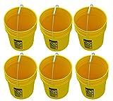 5 Gallon Yellow Buckets, Six (6) Pack | Plastic | Yellow