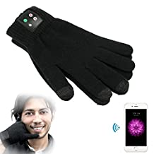 docooler® BLACK TOUCH SCREEN GLOVES WITH MIC BLUETOOTH MOBILE PHONE CALLING TALKING GLOVES