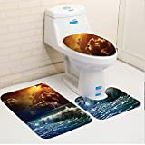 Keshia Dwete three-piece toilet seat pad customLake Thunderstorm Rays over the Ocean Waves Wild Forces Burnt Fire in the Air Decorative Blue Orange