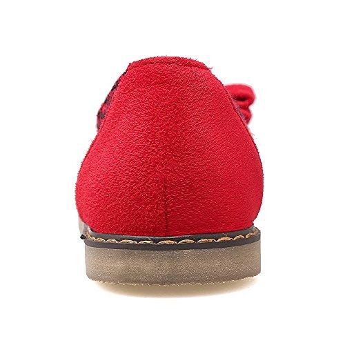 Rosse A Tessuto Tacco Scarpe Unita Con Punta Da Stivaletti Tinta In Voguezone009 Donna 7wZCTOx