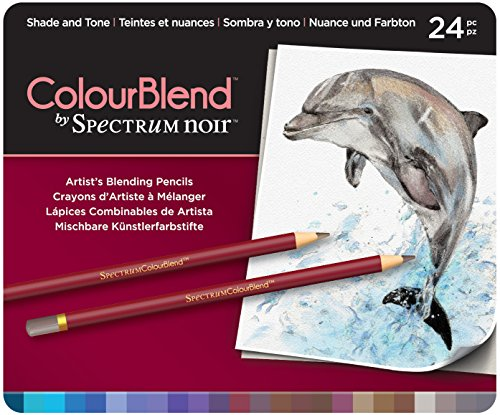 Spectrum Noir SPECCB-SHA24 ColourBlend Premium Blendable Artists Pencils, Shade and Tone, Pack of 24 ()
