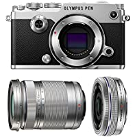 Olympus PEN-F Mirrorless Micro Four Thirds Digital Camera with Olympus M.Zuiko Digital ED 14-42mm f/3.5-5.6 EZ & 40-150mm f/4.0-5.6 R Lenses (Silver)