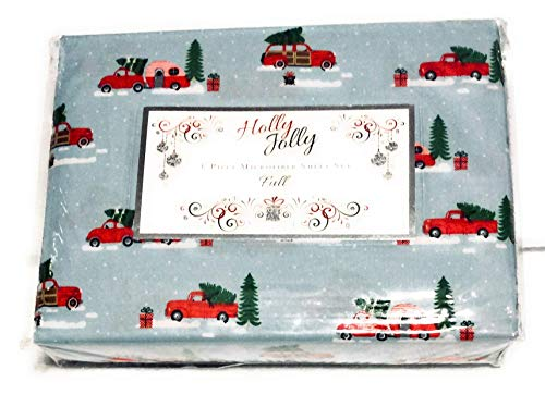 - Holly Jolly Rock Santa Christmas Caravan Sheet Set Full Trees Trucks