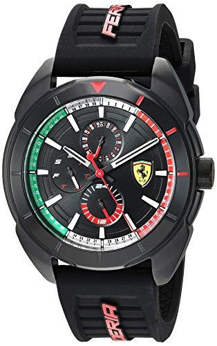 Ferrari Men's Forza Stainless Steel Quartz Watch with Silicone Strap, Black, 22 (Model: 0830577 (Bezel Flag Dial)