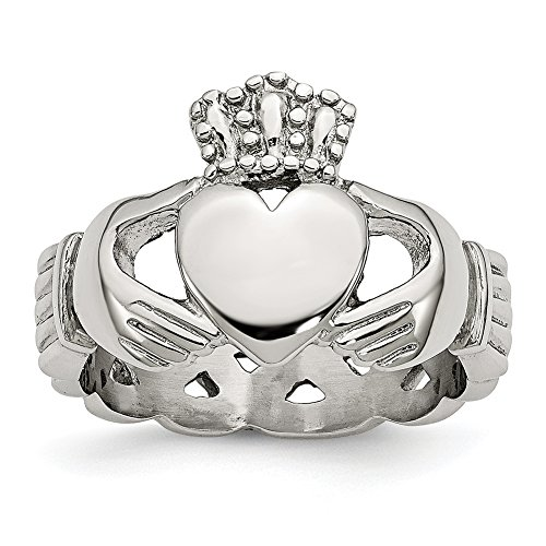Chisel Stainless Steel Polished Braided Claddagh Ring SR386
