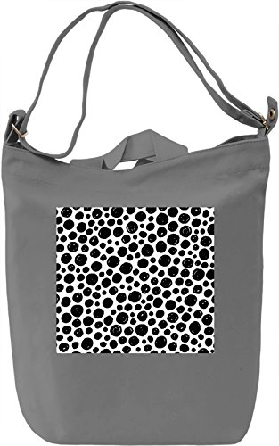 Black Dots Print Borsa Giornaliera Canvas Canvas Day Bag| 100% Premium Cotton Canvas| DTG Printing|