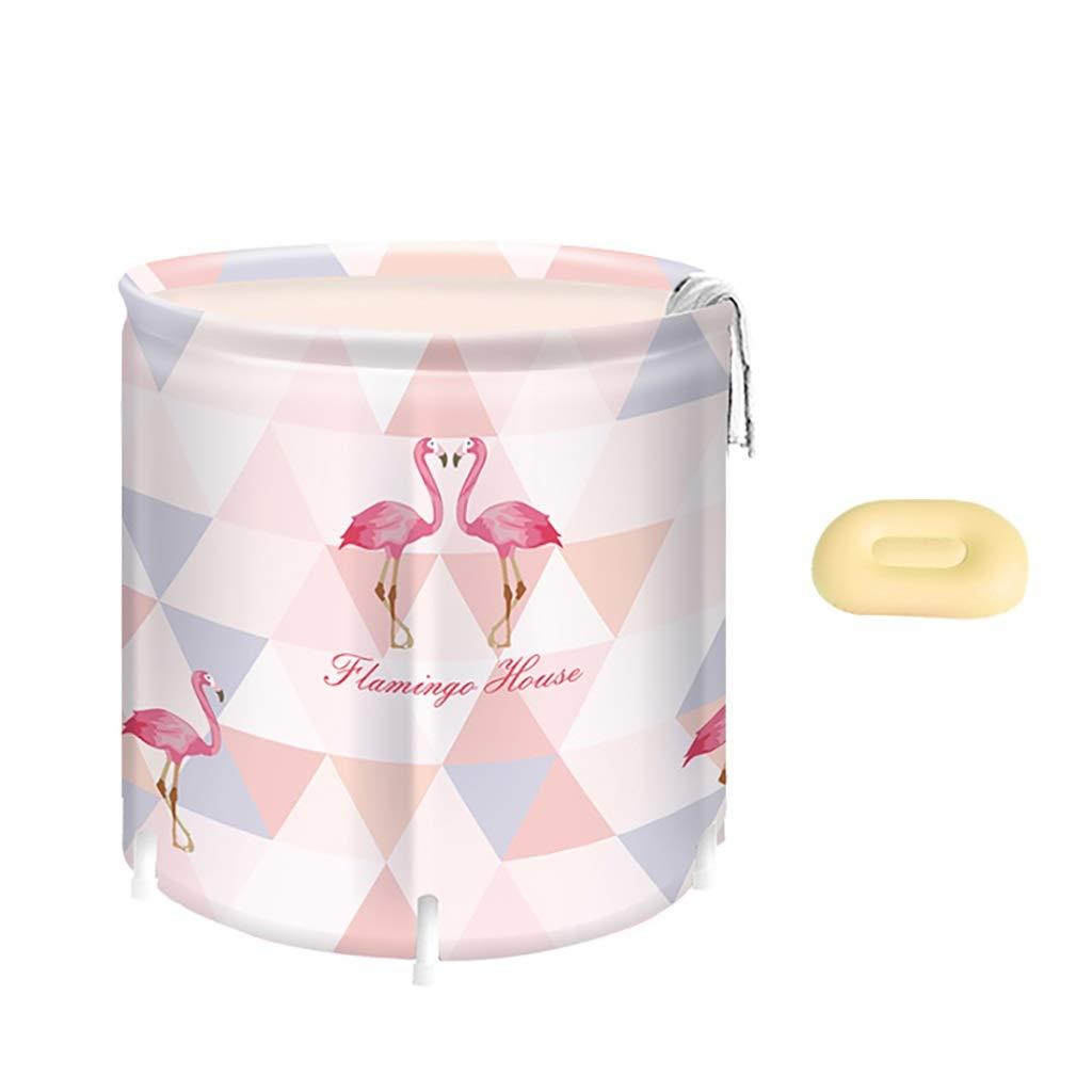 CQ Whirlpool, Faltbadewanne Für Erwachsene, PVC Warmes Schwimmbad, Tragbare Badewanne, Verdickter Duschkübel Kostenlos Aufblasbar 65  70 Cm Flamingo-Muster (Farbe   A)