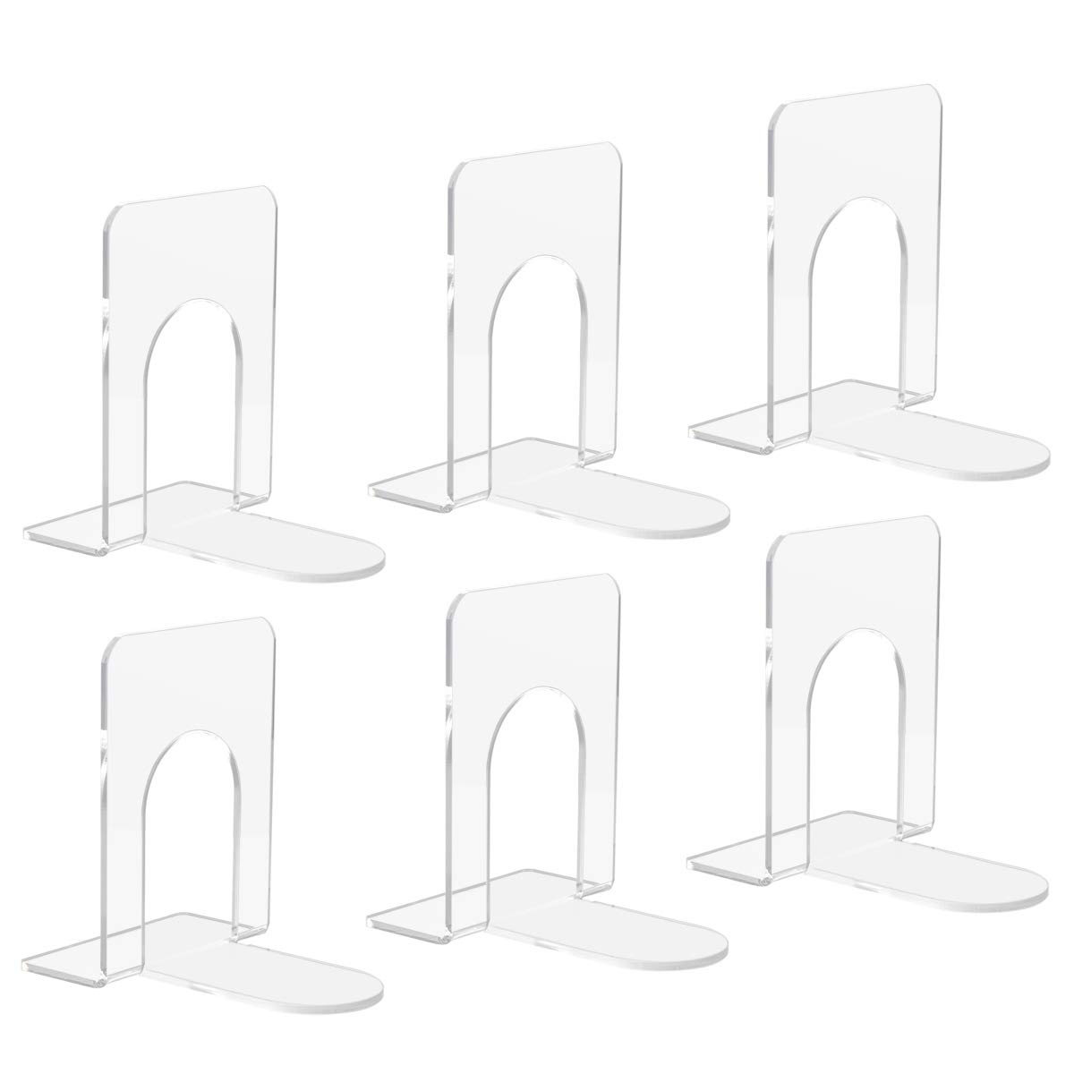 NIUBEE Clear Bookends Acrylic Plastic Book Ends Supports for Books, Movies, DVDs, Magazines- 6 Pieces by NIUBEE
