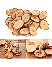25Pcs Unfinished Natural Wood Slices Pine Oval Piece for Wedding Centerpiece DIY Home Painting Festive Decoration Craft