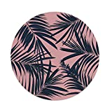 iPrint Polyester Round Tablecloth,Navy Blush,Summer Exotic Floral Tropical Palm Tree Leaf Banana Plant Hawaii Decorative,Night Blue Pale Pink,Dining Room Kitchen Picnic Table Cloth Cover Outdoor Ind