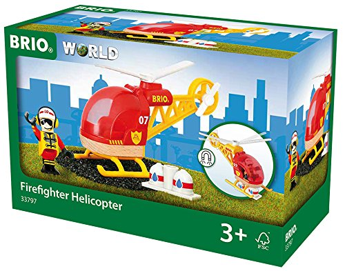 BRIO Firefighter Helicopter Helipad Train Set