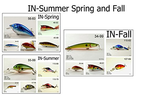 Akuna Seasonal Lures for Bass Fall Fishing for Each of The USA 50 States (Pack of 5), Indiana, Fall