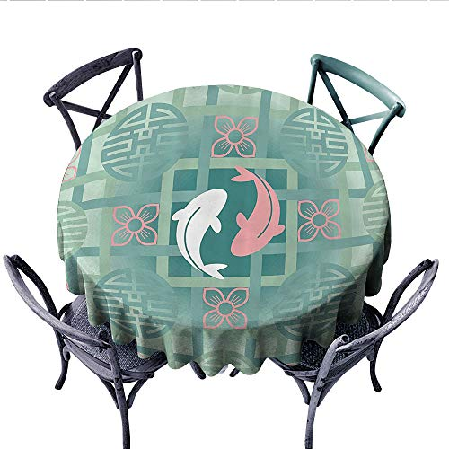 Japanese Decor Patterned Tablecloth Dolphin Couple on Geometrical Featured Round and Squared Figures Backdrop Culture Work Waterproof Table Cover for Kitchen (Round, 50 Inch, Green Pink) ()