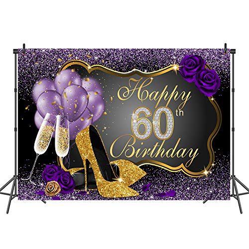 Mehofoto Happy 60th Birthday Backdrop Bling Gold And Purple Photography Backdrops 7x5 Balloons Heels Champagne