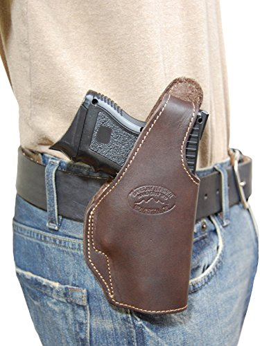 New Barsony Brown Leather OWB Belt Clip Holster for S&W M&P Shield right