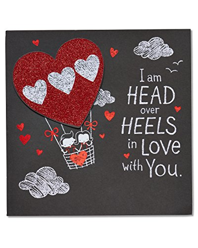 American Greetings Head Over Heels Valentine's Day Card with Glitter (5815813)