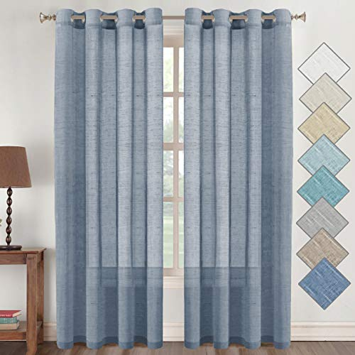 Flamingo P Natural Linen Blended Sheer Curtains/Panels/Drapes Home Decorative Privacy Window Treatment Linen Curtains, Nickel Grommets, Denim Color, 96 Inches Long Living Room Curtains