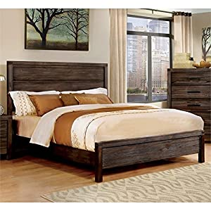 Furniture of America Bahlmer Queen Platform Bed in Dark Gray