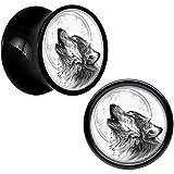 Body Candy Black Acrylic Howling Wolf Saddle Plug Pair 00 Gauge