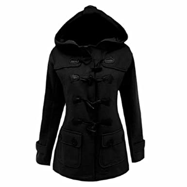 Amazon.com: XQS Womens Casual Pockets Solid Trench Coat Hooded ...