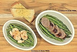 ITI Ceramic Casserole Oven Bakers with Pan Scraper, 4-Pack (14 Ounce, Bone White)