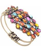 SODIAL(TM) Multi Vintage Colorful Crystal Peacock Bracelet Bangle
