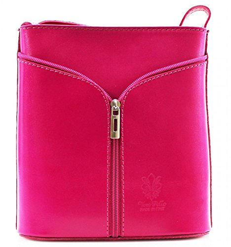 H&g Vera Pelle Mini Italian Real Leather Cross-body Handbag (orange) Fuchsia