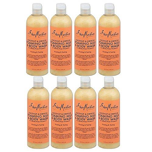 Shea Moisture Bodywash Foaming Milk 16 Ounce Coconut & Hibiscus (473ml) (8 pack) by by Shea Moisture