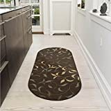 Ottomanson Ottohome Collection Contemporary Leaves Design Non-Skid Rubber Backing Modern Area Rug, 2' X 5' Oval, Chocolate Brown