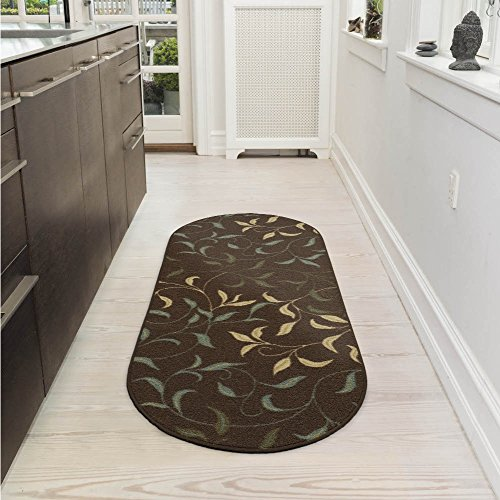 Ottomanson Ottohome Collection Contemporary Leaves Design Non-Skid Rubber Backing Modern Area Rug, 2' X 5' Oval, Chocolate Brown 2' Oval Area Rug