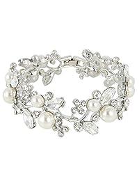 Ever Faith Lady Leaf Ivory Color Simulated Pearl Bracelet Clear Austrian Crystal