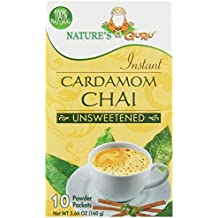 Nature's Guru Instant Cardamom Chai, Unsweetened, 10-Count, Convenient On-the-Go Instant Hot Chai Mix in Single Serve Packets, All Natural, Just Add Hot Water and Stir