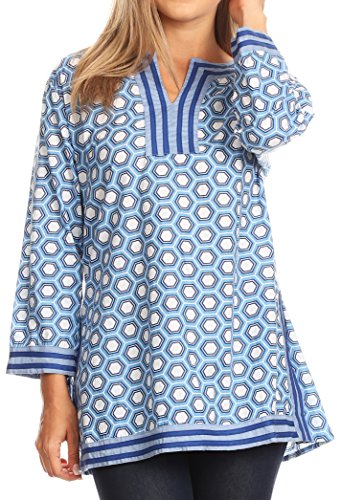 Sakkas Lia Unique Honeycomb Cotton Tunic Top With 3/4 Sleeve
