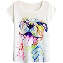 Futurino Women's Summer Colourful Ink Pit Bull Dog Print Loose Sleeve T-Shirt