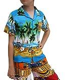 Raan Pah Muang Childrens Hawaiian Shirt in Summer Printed Rayon Seaside Beach Fun, 3-6 Years, Coconut Trees The sea Art Sky Blue