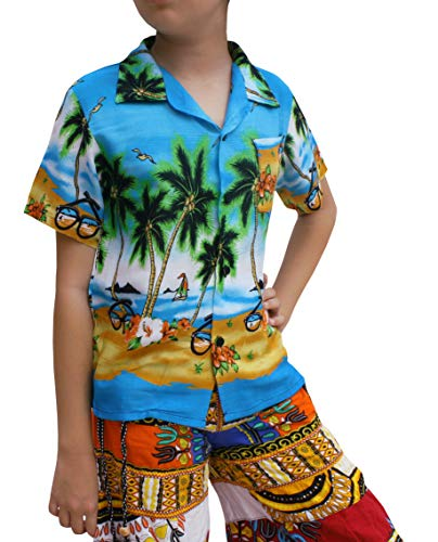 Raan Pah Muang Childrens Hawaiian Shirt in Summer Printed Rayon Seaside Beach Fun, 1-3 Years, Coconut Trees by The sea Art Sky Blue