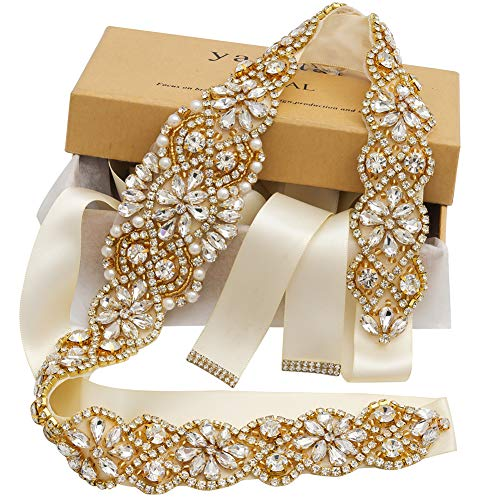 Bridal Rhinestone Wedding Belts Hand Clear Crystal 22In Length For Bridal Gowns (Gold-Ivory) - Gold Clear Crystal