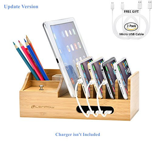 Device Dock - Charging Station, Firstbuy Bamboo Charging Dock Multi Device Charging Stand Cable Cords Desktop Organizer, Compatible with Most of the 4/5/6 Port USB Charger for Smartphones/Tablets/otterbox