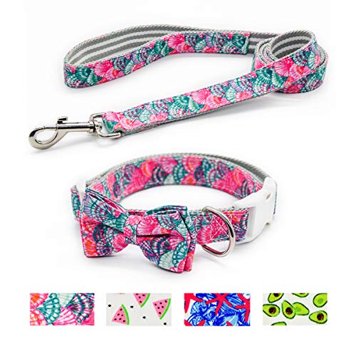 (Four Detachable Adjustable Bow Dog Collar and Leash Set,Pattern Printing,Adjustable Nylon Collar with Matching Leash for Small Medium Large Dogs)