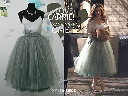 Amazon.com: Carrie Bradshaw Ombré Tulle Skirt Leaf Green 7